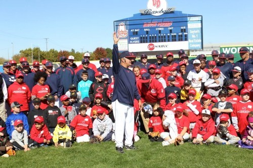Caoch Tony Vittorio, The University of Dayton Baseball Coach, teaches the kids the basics of the game.